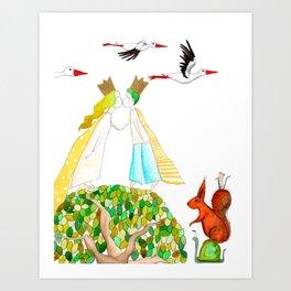 Prince and princess Art Print