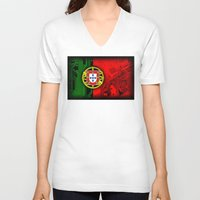 portugal V-neck T-shirts featuring circuit board Portugal (Flag) by seb mcnulty