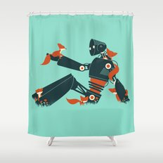 Foxes & The Robot Shower Curtain