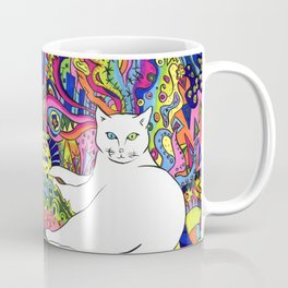 Psychedelic White Cat Coffee Mug
