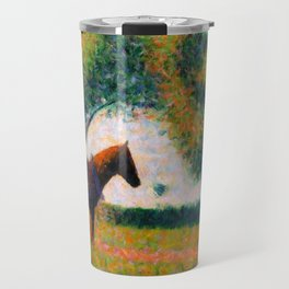 The Harnessed Horse Georges Seurat (1884) Oil Impressionist Painting Travel Mug