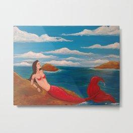 Sunning mermaid Metal Print