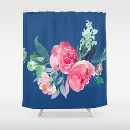 Blue and Pink Peony Watercolor Shower Curtain