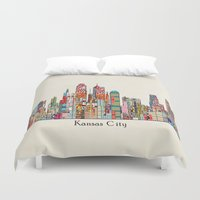 kansas Duvet Covers featuring kansas city Missouri skyline by bri.buckley