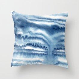 indigo shibori 09 Throw Pillow