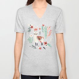 White Llama with flowers Unisex V-Neck