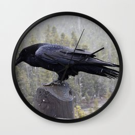 Raven of Yellowstone Wall Clock