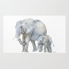 Mother and Baby Elephants Rug