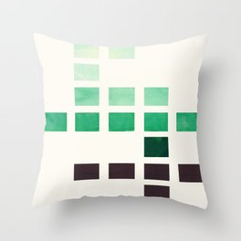 Colorful Teal Turquoise Deep Green Mid Century Modern Minimalist Square Geometric Pattern Throw Pillow