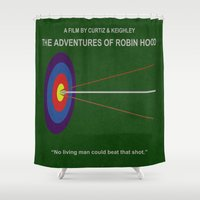 robin hood Shower Curtains featuring Robin Hood Minimal Movie Poster by MX Designs