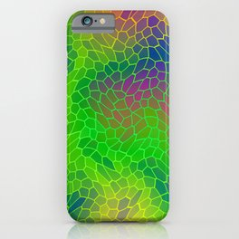 Volumetric texture of pieces of green glass with a Iridescent mysterious mosaic. iPhone Case