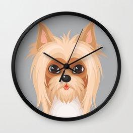 Sliky terrier. Dog face illustration Wall Clock