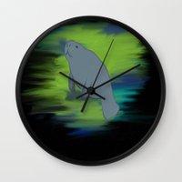 manatee Wall Clocks featuring manatee by JadeRose