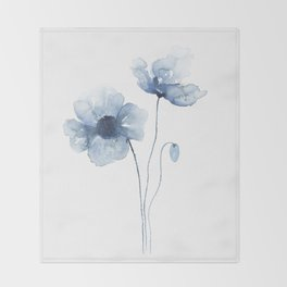 Blue Watercolor Poppies Throw Blanket