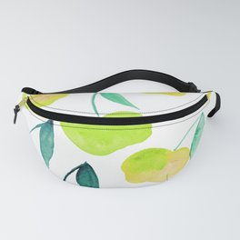 Watercolor cherries - yellow and green Fanny Pack