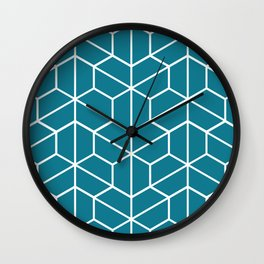 Blue hexagons Wall Clock