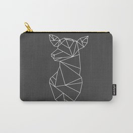 Geometric Doe (White on Grey) Carry-All Pouch