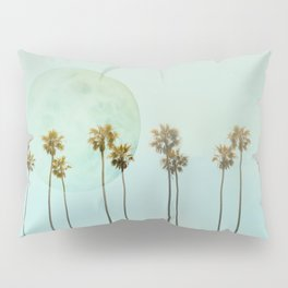 Full Moon Paradiese Beach Palm Trees Pillow Sham
