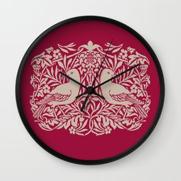 William Morris Style Victorian Birds Wall Clock