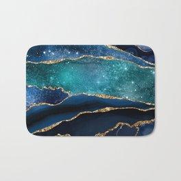 Blue Night Galaxy Marble Bath Mat