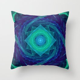 Sinusoidal Sawblade Mandala in Blue-Green Colors Throw Pillow