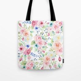 Blush pink watercolor elegant roses floral Tote Bag