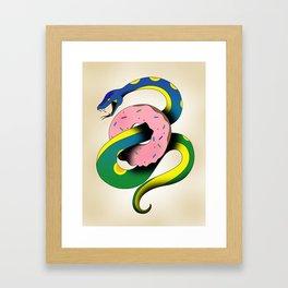 Donut Snake Framed Art Print