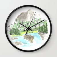 """pixar Wall Clocks featuring """"Adventure is Out There!"""" - Up, Pixar by astoldbycaro"""