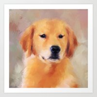 golden retriever Art Prints featuring Golden Retriever by Jai Johnson