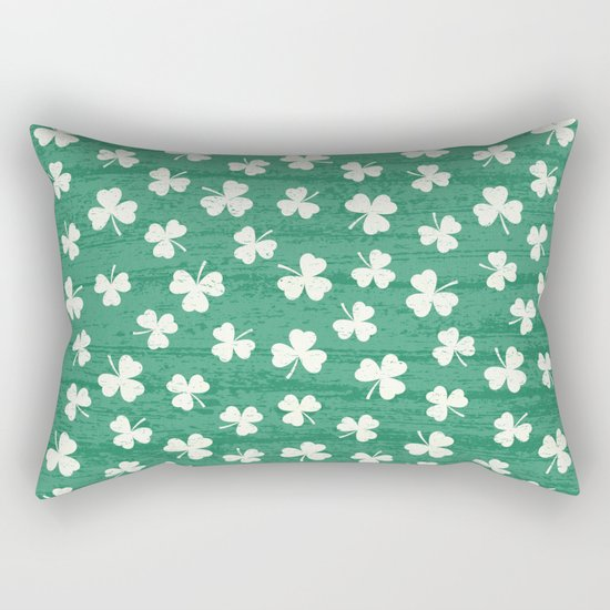 DANCING SHAMROCKS on green Rectangular Pillow