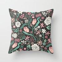 Tulip flowerbed Throw Pillow