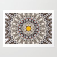 Lovely Healing Mandalas in Brilliant Colors: Black, Ecru, Gray, Silver, Orange, and Yellow Art Print