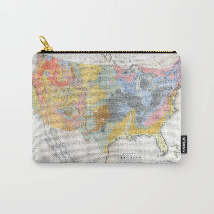1874 Geological Map of the United States Carry-All Pouch