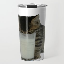 Cute Wild Kitten With A Glass Full of Optimism Travel Mug