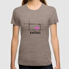 Love Kansas State Sketch USA Art Design T-shirt