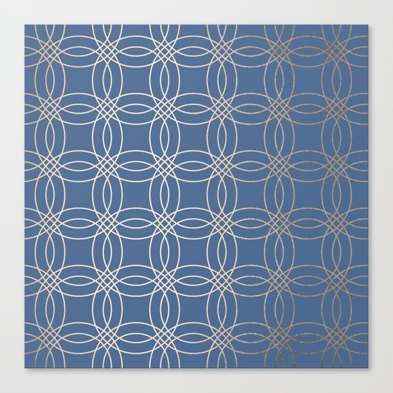 Simply Vintage Link in White Gold Sands and Aegean Blue Canvas Print