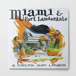 Vintage poster - Miami and Fort Lauderdale Metal Print