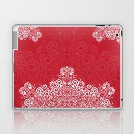 Red background with white love mandala Laptop & iPad Skin