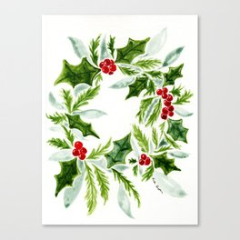 Holly, berries, and evergreens Canvas Print