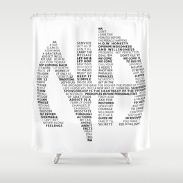 Narcotics Anonymous Symbol in Slogans Shower Curtain