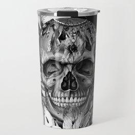 Black White Boho Skull Travel Mug