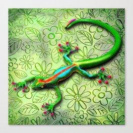 Gecko Lizard Rainbow Colors Canvas Print