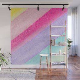 Colorful modern watercolor hand painted stripes Wall Mural