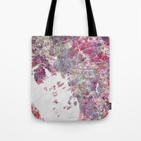 oslo Tote Bags featuring Oslo Map by MapMapMaps.Watercolors