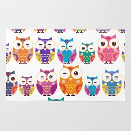 pattern - bright colorful owls on white background Rug