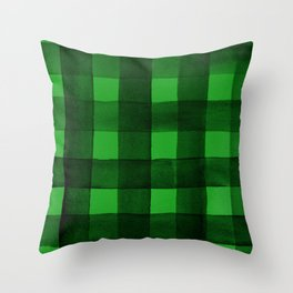 Buffalo Plaid Watercolor in Green Throw Pillow