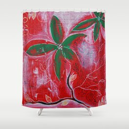 Red and green foliage fine art painting 3 of 3 Shower Curtain