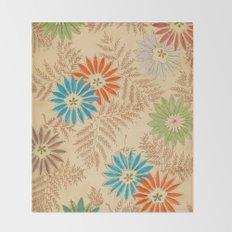 Japanese Vintage Flowers Pattern Throw Blanket