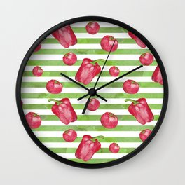 Red Bell Peppers on Green Stripes Wall Clock