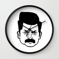 ron swanson Wall Clocks featuring Ron Swanson by bookotter